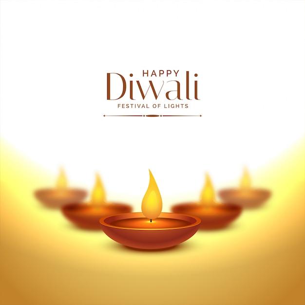 Happy deepawali background with diya lamps Free Vector