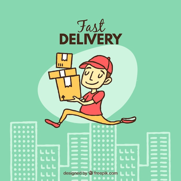 Happy delivery man with hand drawn style Free Vector