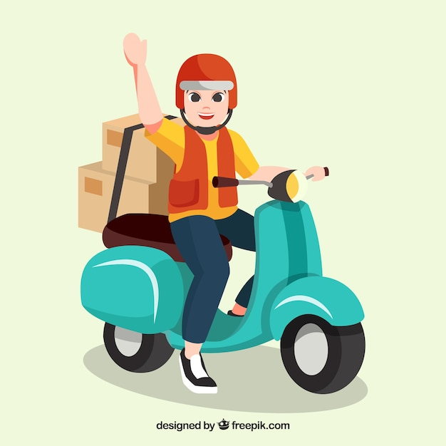 Happy delivery man with helmet on scooter Premium Vector