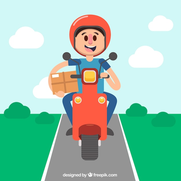 Happy deliveryman driving scooter Free Vector