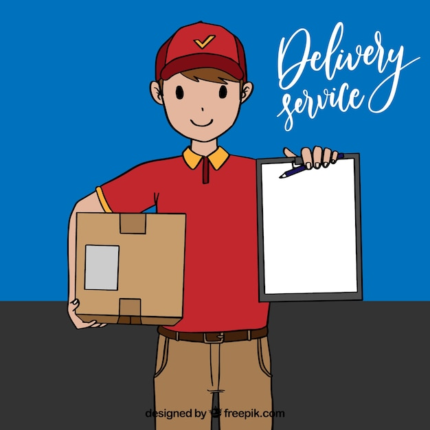 Happy deliveryman with hand drawn style Free Vector