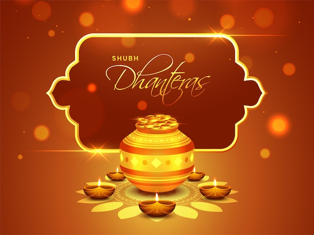 Happy dhanteras background. Premium Vector