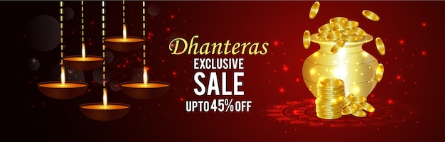 Happy dhanteras banner with celebration Premium Vector