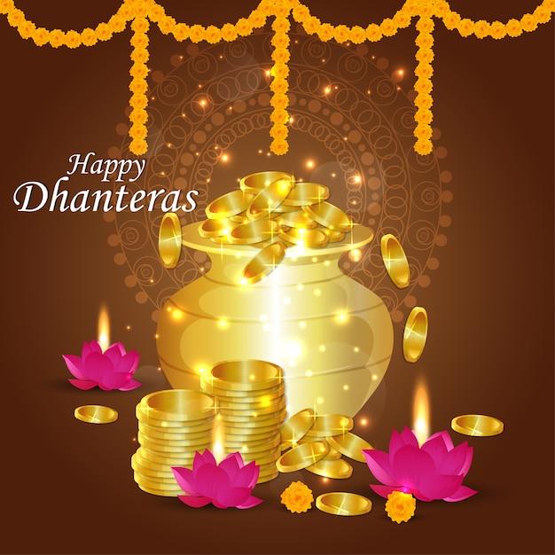 Happy dhanteras design Premium Vector