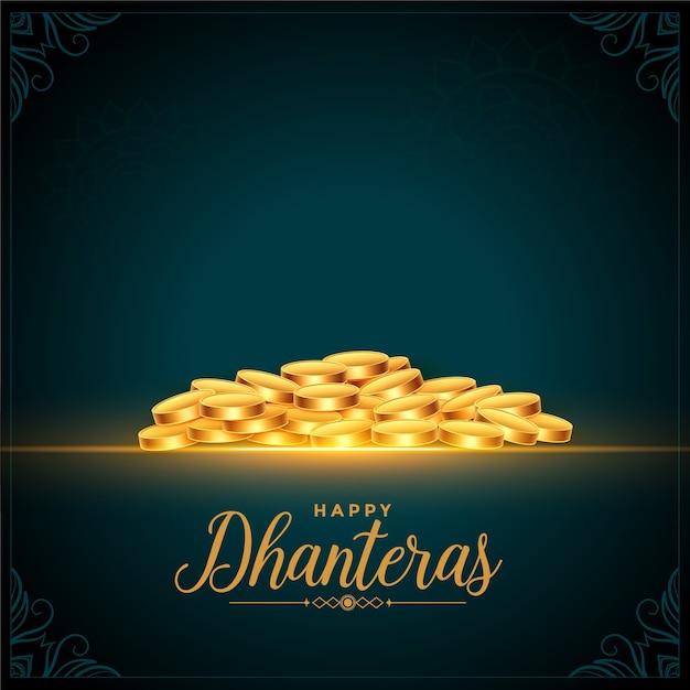 행복 dhanteras 축제 황금 동전 배경 무료 벡터