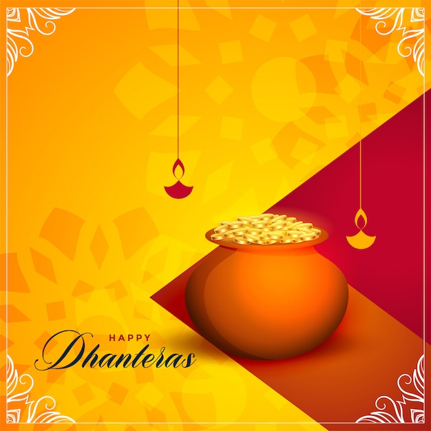 Happy dhanteras festival greeting card Free Vector
