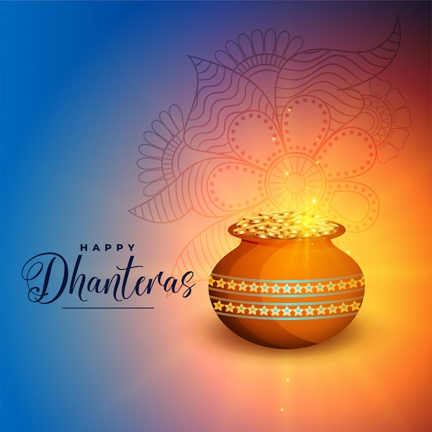Happy dhanteras festival greeting card Free Vector