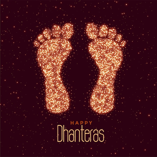 Happy dhanteras festival greeting with feet print Free Vector