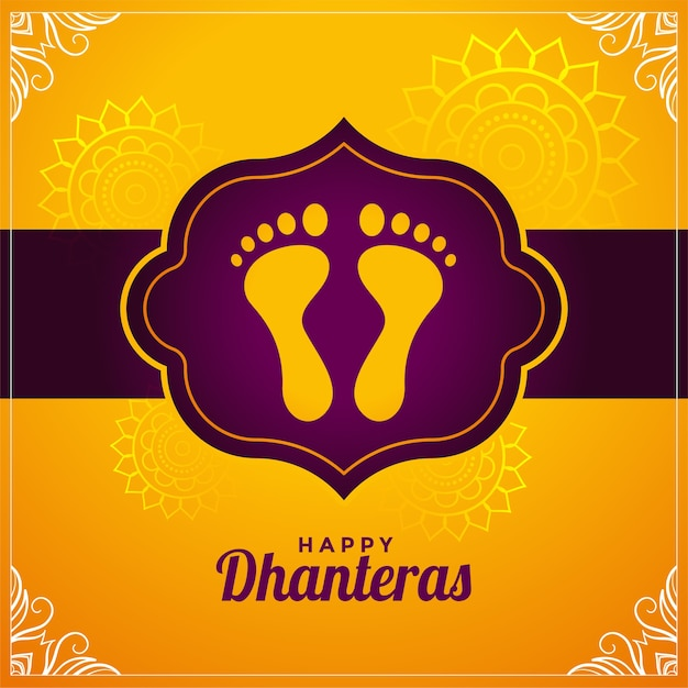 Happy dhanteras hindu festival wishes design background Free Vector