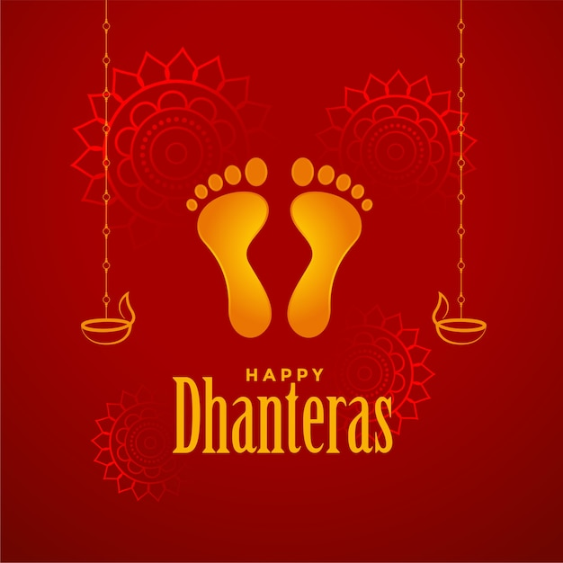 Happy dhanteras red background with god foot prints Free Vector