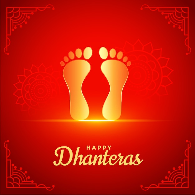 Happy dhanteras red background with golden god feet foot print Free Vector