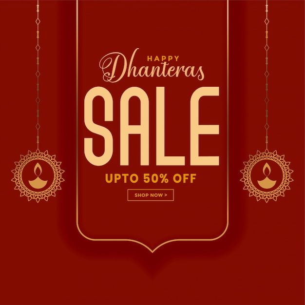 Happy dhanteras sale banner with offer details Free Vector