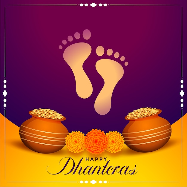 Happy dhanteras wishes background with god foot prints Free Vector