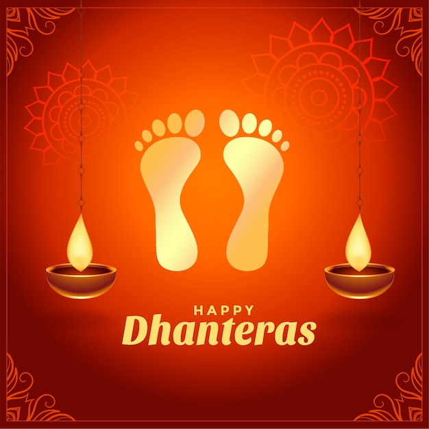 Happy dhanteras wishes with golden god foot prints Free Vector