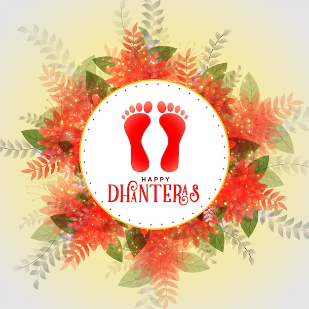 Happy dhateras flower card con lord lakshmi footprints Vettore gratuito