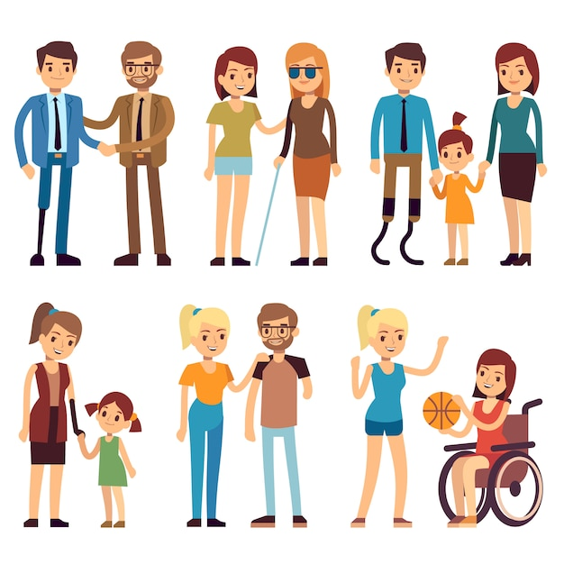 Happy disabled people in sport and social activities. vector flat characters set. disabled person in wheelchair illustration Premium Vector