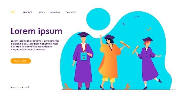 Счастливые разноплановые студенты празднуют выпуск из школы или колледжа, держат дипломы и сертификаты. плоские векторные иллюстрации для образования, университетской вечеринки, концепции академического успеха Бесплатные векторы