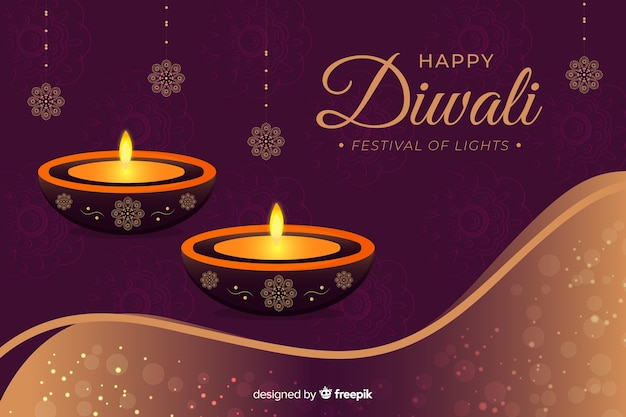 Happy diwali 2019 background with candles Free Vector