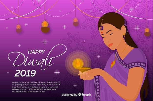 Happy diwali 2019 background with woman Free Vector