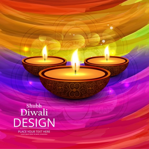 Happy diwali background of colorful bands Free Vector