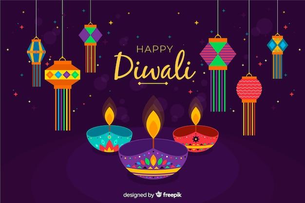 Happy diwali background in flat design Free Vector