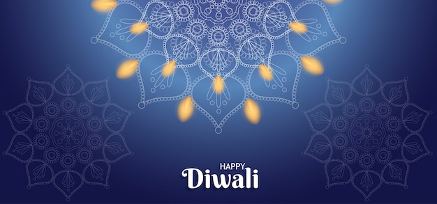 Happy diwali background with fire Premium Vector