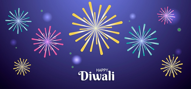 Happy diwali background with fireworks Premium Vector