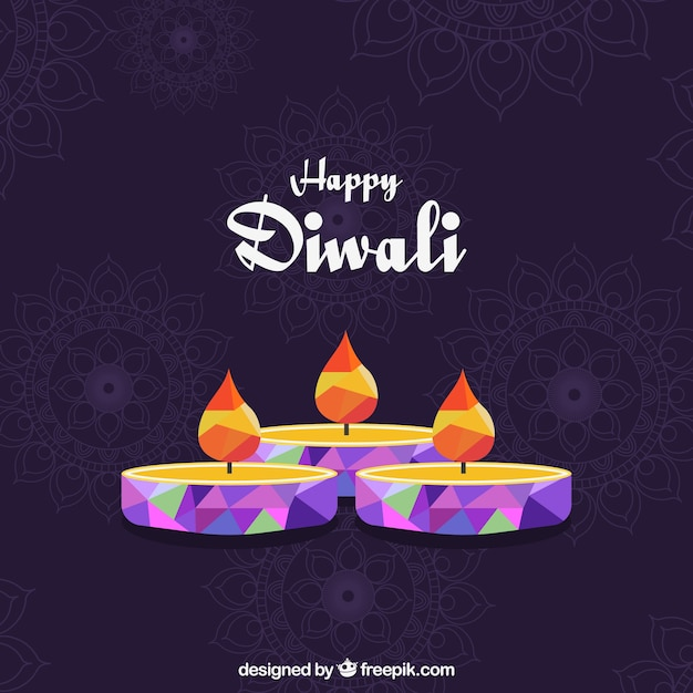 Happy diwali background with geometric candles