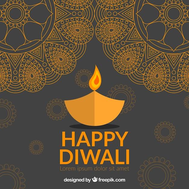 Happy diwali background with golden\ mandalas