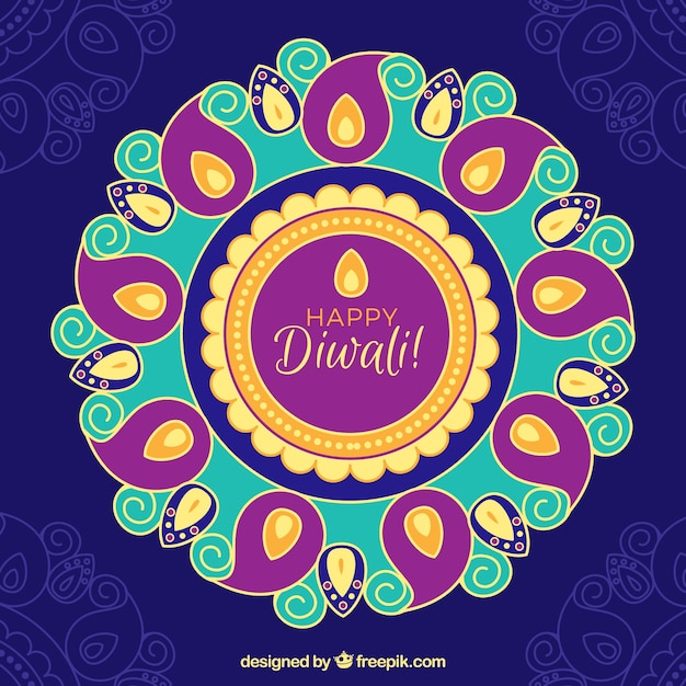 Happy diwali background with hand drawn mandala