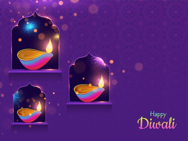 Happy diwali background. Premium Vector