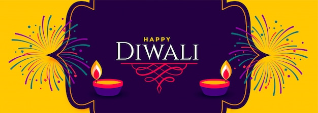 Happy diwali beautiful bright yellow and purple banner Free Vector