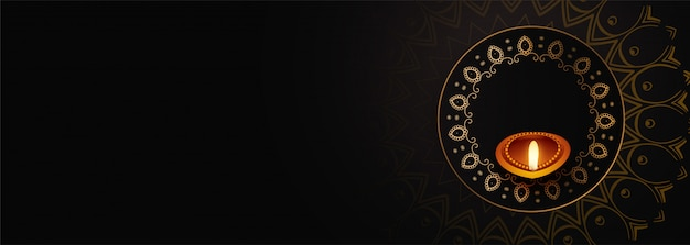 Happy diwali black color banner with text space Free Vector