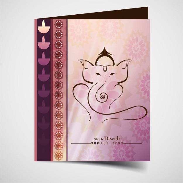 Happy diwali card of ganesh Free Vector