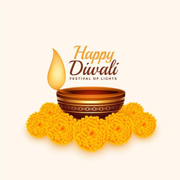 Felice diwali card con diya e fiori di calendula Vettore gratuito
