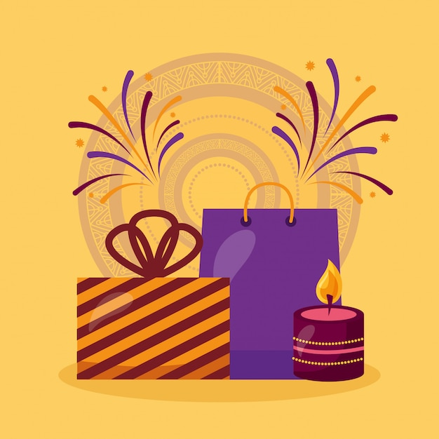 Happy diwali card with gifts and candles celebration Free Vector