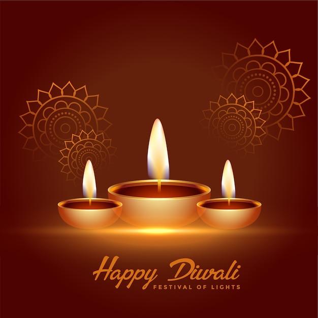 Fondo felice di celebrazione di diwali con la decorazione di diya Vettore gratuito