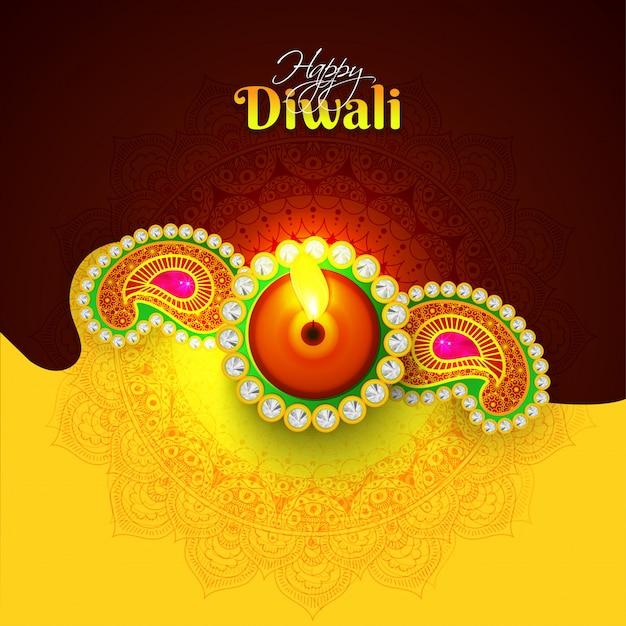 Happy diwali celebration background. Premium Vector