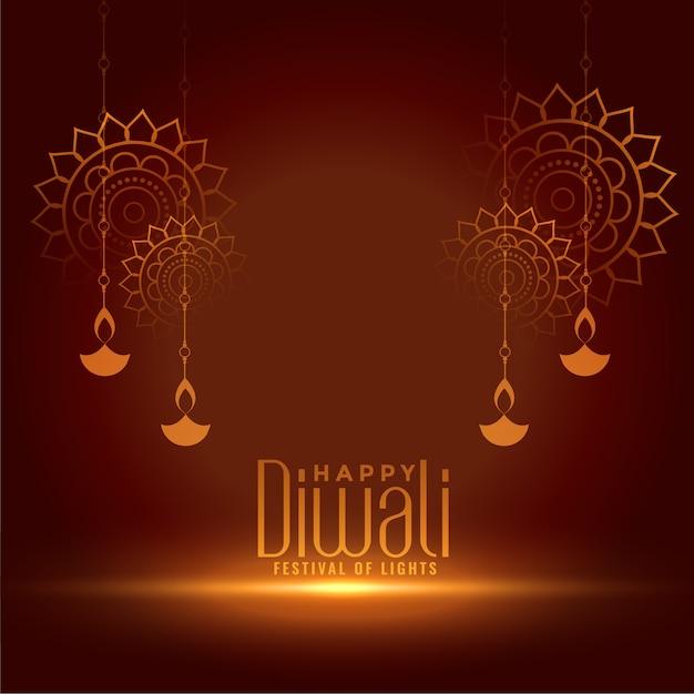 Fondo decorativo della carta di celebrazione felice di diwali Vettore gratuito