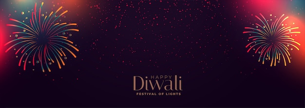Happy diwali celebration colorful firework banner Free Vector
