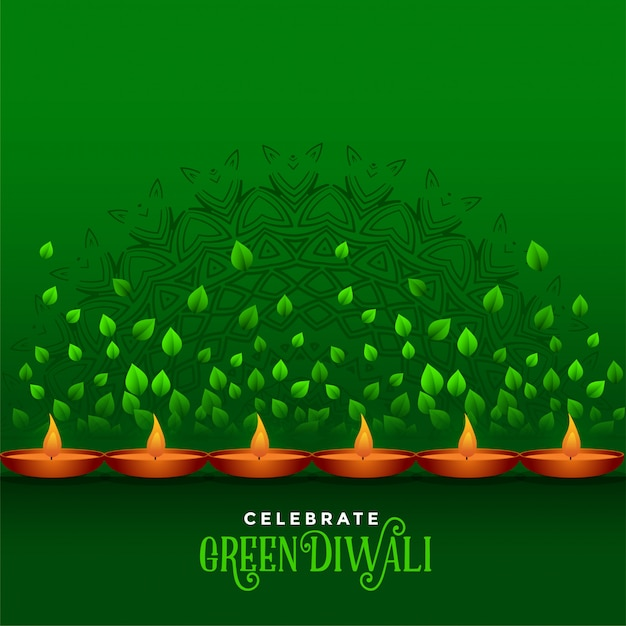 Happy diwali celebration eco green background Free Vector