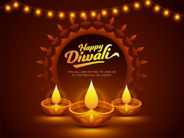 Happy diwali celebration poster design with illuminated oil lamps (diya) Premium Vector