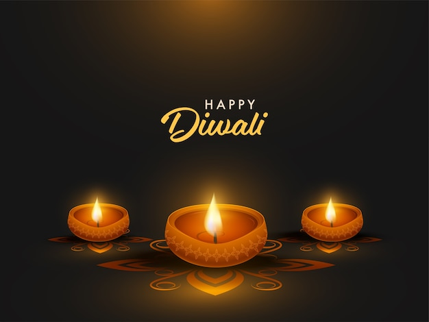 Happy diwali celebration poster design with illuminated oil lamps Premium Vector