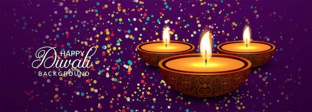 Happy diwali celebration social media header or banner Free Vector