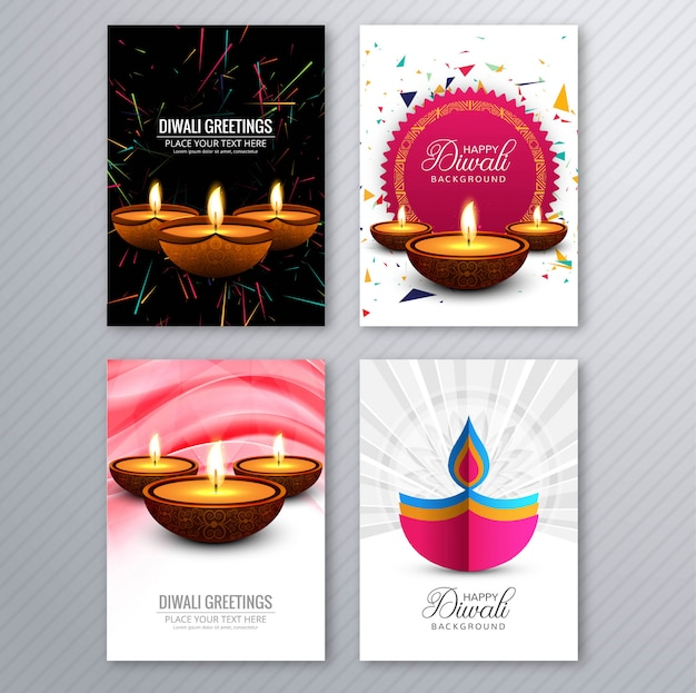 Happy diwali colorful brochure template collection vector Free Vector