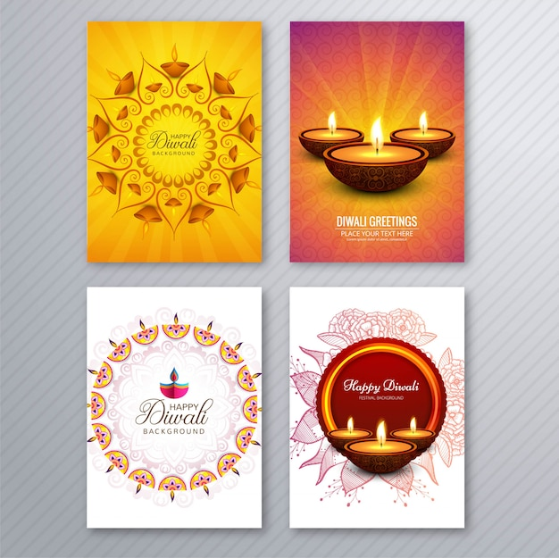 Happy diwali colorful brochure template collection vector Premium Vector