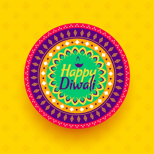 Happy diwali colorful festival decoration background Free Vector