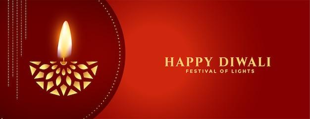 Счастливый дивали творческий золотой дия на красном знамени Бесплатные векторы