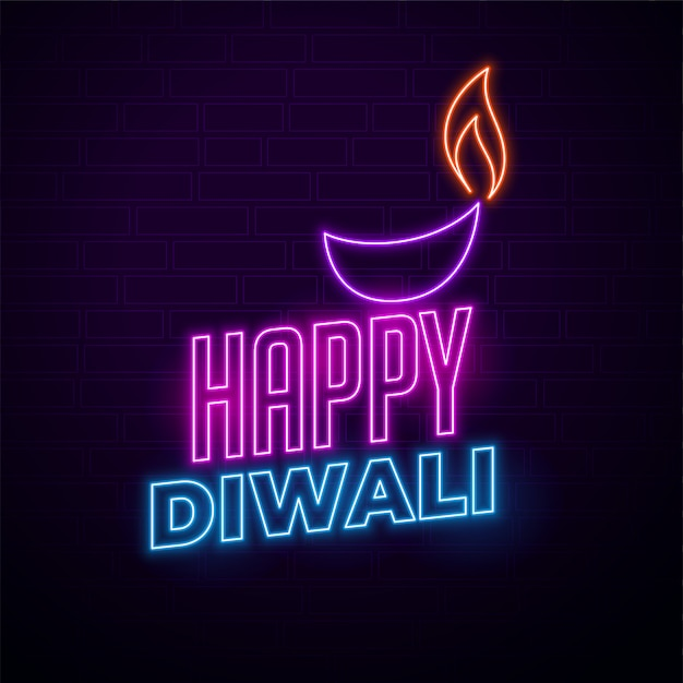 Happy diwali creative illustration in neon style Free Vector