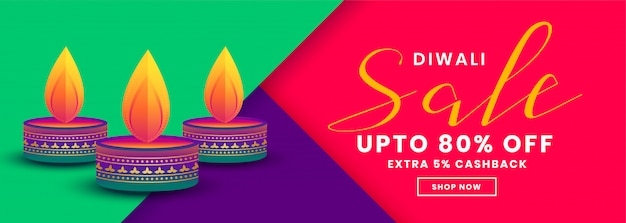 Happy diwali creative sale and offers banner template Free Vector
